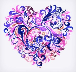 floral heart purple borderless